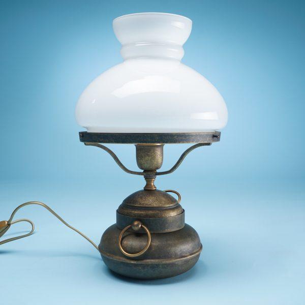 Luč namizna medenina belo steklo